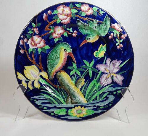 Maling England Majolica Tubelined King Fisher Charger - Display Plate