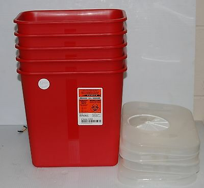 5 Kendall Sharps Biohazard Disposable Container Rotor Opening Auto Drop Funnel
