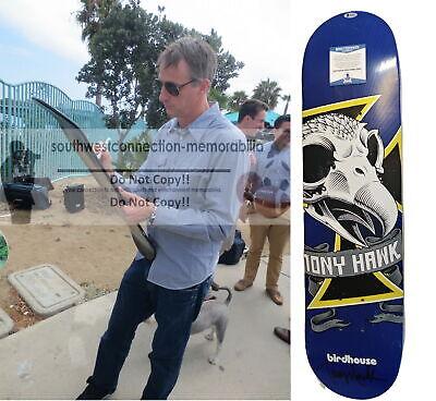 Tony Hawk Signed Birdhouse Blue Skull Skateboard Deck Proof Beckett BAS Cert COA