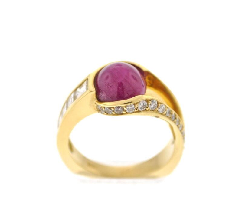 18k Yg Custom Ring W/ 1.05 Ct Of Diamonds & A 4.71 Ct Cabochon Ruby Center Stone