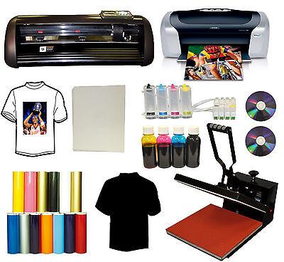 15x15 Heat Press Printer Ciss Ink 13 Vinyl Cutter Plotter Cartridge Startup Pack