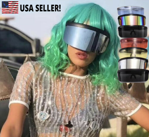 Unisex Futuristic Oversize Large Shield Visor Sunglasses Mirrored Lens Glasses