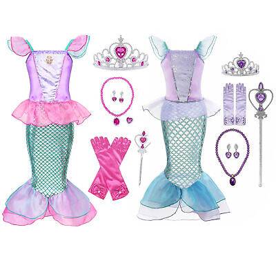 Kids Girl Little Mermaid Ariel Princess Cospaly  Dress Up Costume 3-8 T Crown  Child Ariel Costume