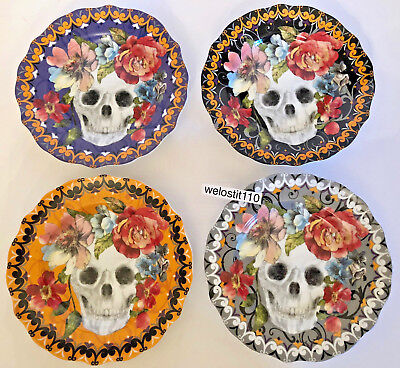 222 FIFTH Halloween Marbella Skull APPETIZER Plates. SET- 4.  AWESOME! COLORFUL!