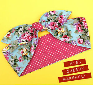 Pale Blue Kitsch Ditsy Floral Polka Dot Vintage 1950's Head Scarf Hair Tie Bow