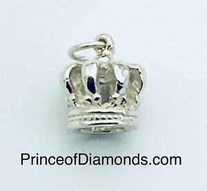 Sterling silver crown pendant charm