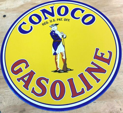 "CONOCO Minute Man Gasoline Oil Aluminum Metal Sign 12"""