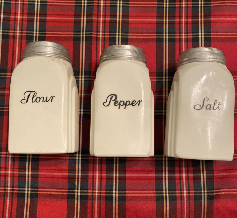 Vintage White Glass Roman Arches, Salt, Pepper & Flour Range Set