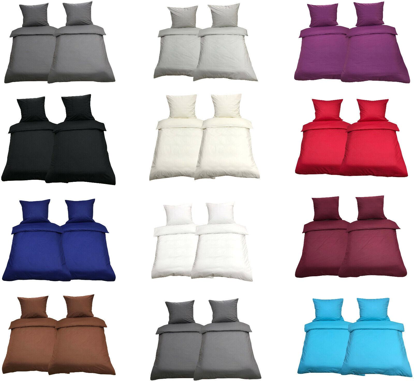 Bettwäsche 135x200 Baumwolle Bettwaren Bettbezug Uni Garnitur Renforce 4-tlg 2tl