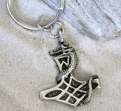 THORS HAMMER MJOLNIR DRAGON Pewter KEYCHAIN Key Ring
