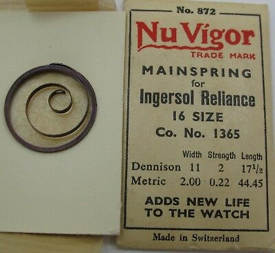 Nos Ingersol Reliance 16 size 1365 T end Pocket Watch Mainspring 1 piece