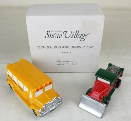 Department 56 Snow Village School Bus and Snow Plow #5137-3 - Original Package