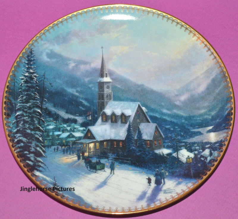 THOMAS KINKADE Moonlit Village Christmas Plate 1997 Bradford Exchange Church MT