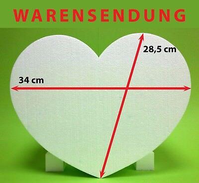 Styropor Herz 1 Stück 34 x 28,5 Höhe 10 cm weiß Hochzeit Warensendung Liebe neu