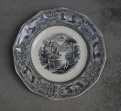 Antique Mulberry Ironstone Plate, J Heath, Monterey Pattern