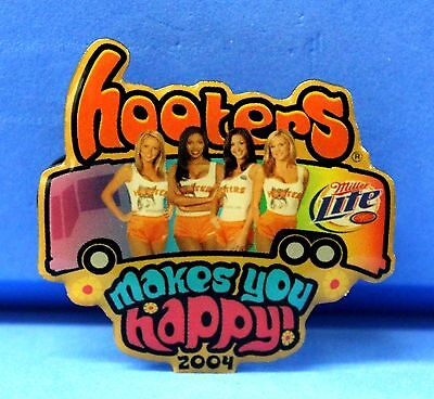 HOOTERS 4 GIRL'S MAKES YOU HAPPY TOUR BUS MILLER LITE BEER BADGE LAPEL PIN 2004