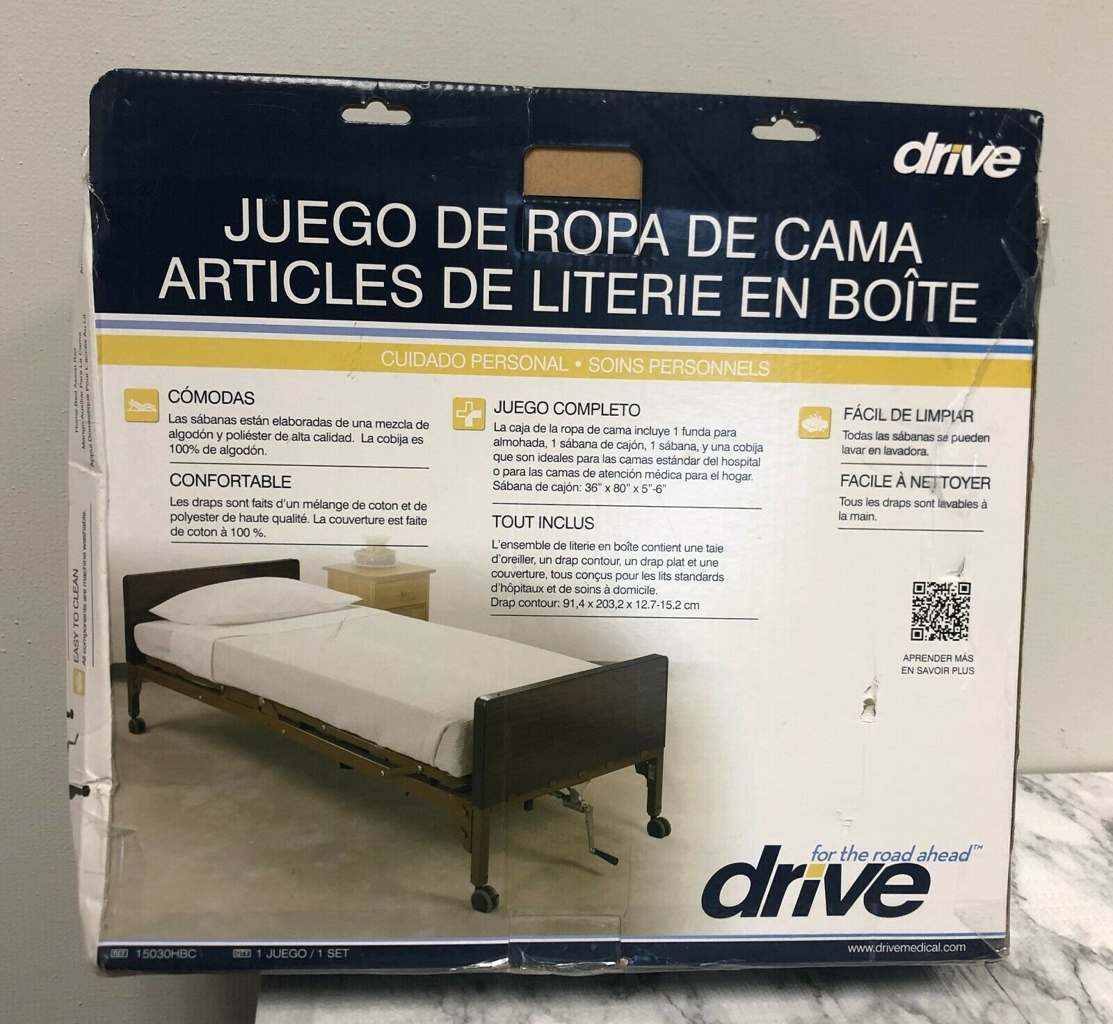 NEW – OPEN BOX DRIVE MEDICAL 15030HBC HOSPITAL BED BEDDING IN A BOX, WHITE 36