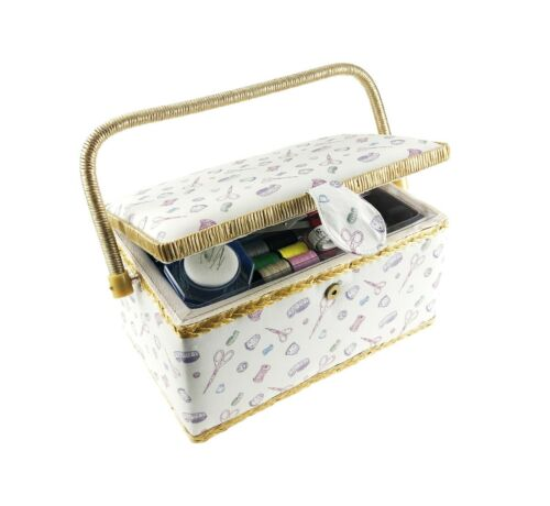Classic Fabric Design Sewing Basket with free 100+ pcs. Sewing Kit Accessories