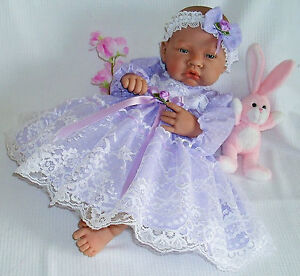 Lilac Frilly Lacy Dress Hbd Reborn Premature 15-18