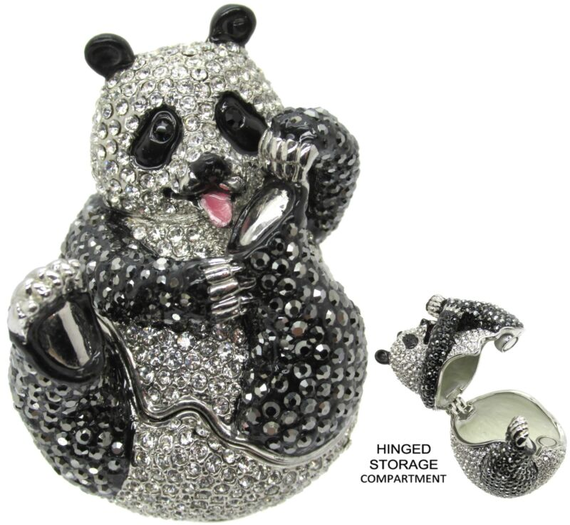 Panda Jeweled Trinket Box with SWAROVSKI Crystals, by RUCINNI