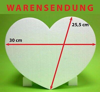 Styropor Herz 1 Stück 30 x 25,5 Höhe 8 cm weiß Hochzeit Warensendung Liebe neu