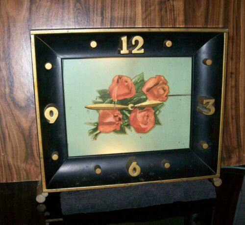 Antique Art Deco Lighted Clock FOUR ROSES Distillery 3980 - Works