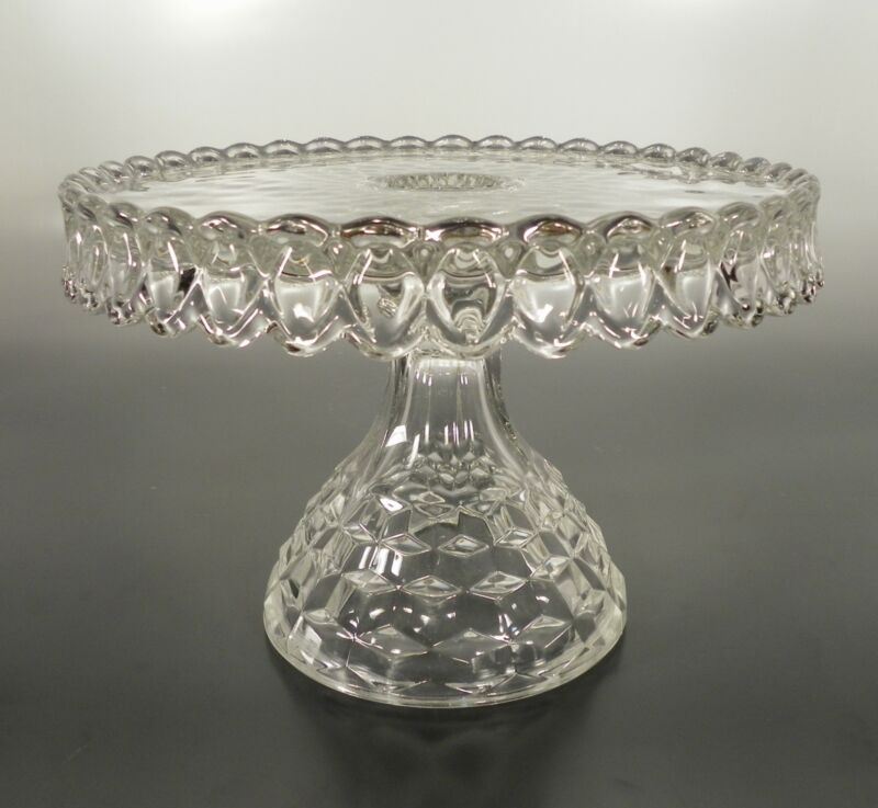 Fostoria AMERICAN Old Round Cake Stand with Rum Well Clear Crystal Glass