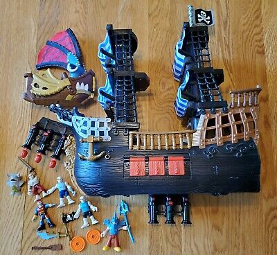 Fisher Price Imaginext Black and Red Pirate Ship Blue Sails with accessories Lot