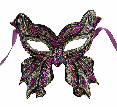 Mask from Venice Farfella Black Pink Golden Mixed Butterfly in Paper Mache 1783
