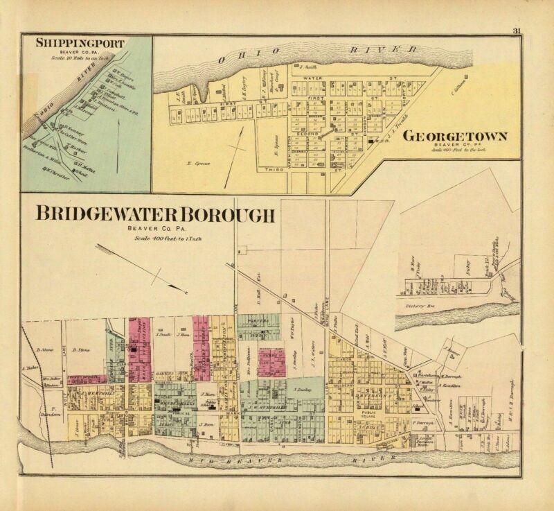 1877 map Ohio Bridgewater Borough Shippingport Beaver County Pennsylvania 21
