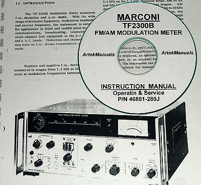Marconi Tf2300b Fmam Modulation Meter Operating Service Manual Schematics