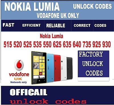 Nokia Lumia 515 520 525 535 550 625 635 640 735 925 Vodafone UK Unlock Code Fast