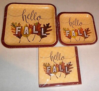 FALL Paper Plates & Napkins HELLO FALL Luncheon Napkins & Lunch & Desert Plates