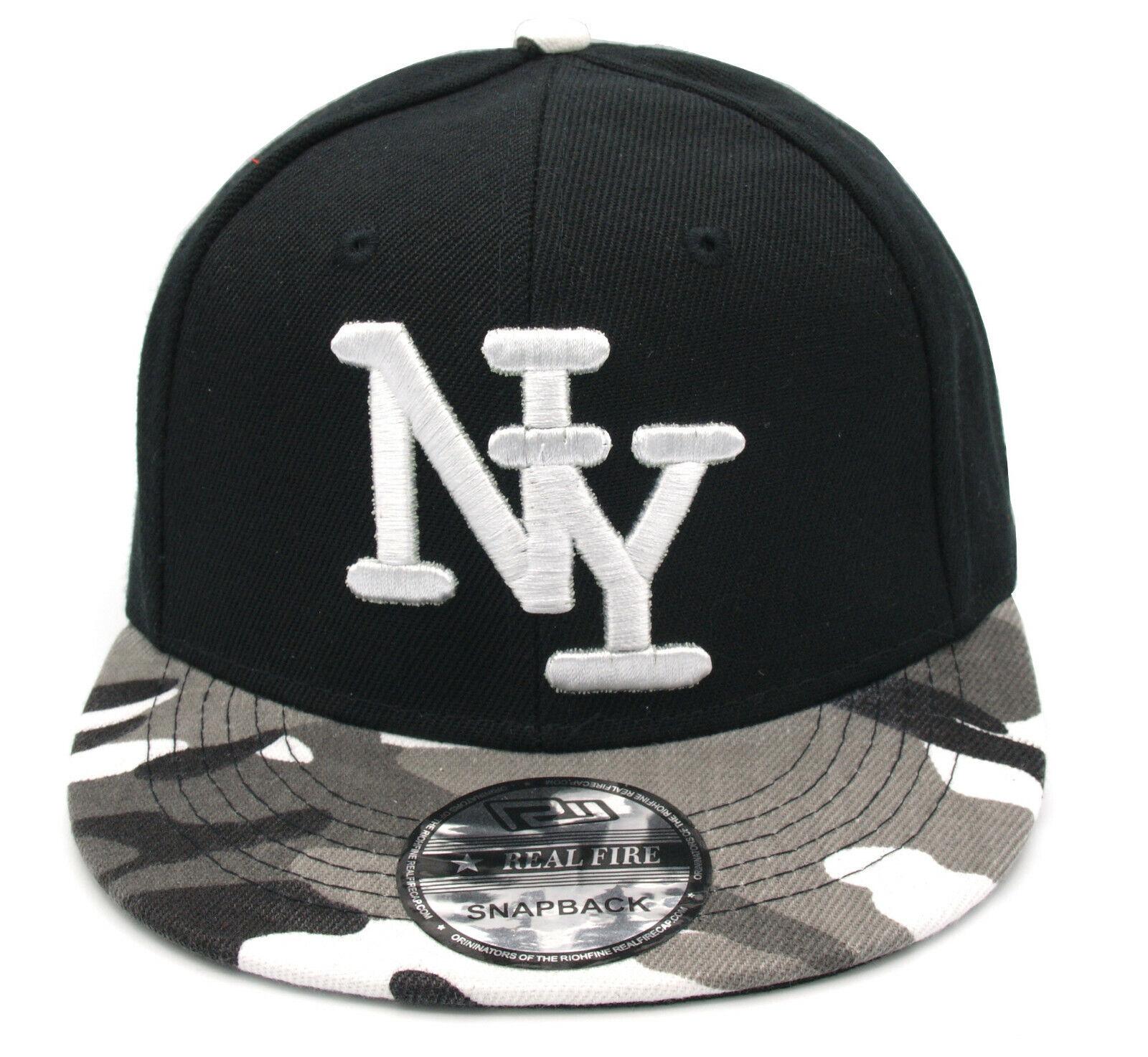Snapback Kappe Cappy Sommer NY New York Cap Herren schwarz camo grau  54-62cm