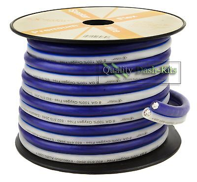 25 Ft True 8 Gauge Awg Speaker Wire Pro Cable Blue White Car   Home Audio Spool