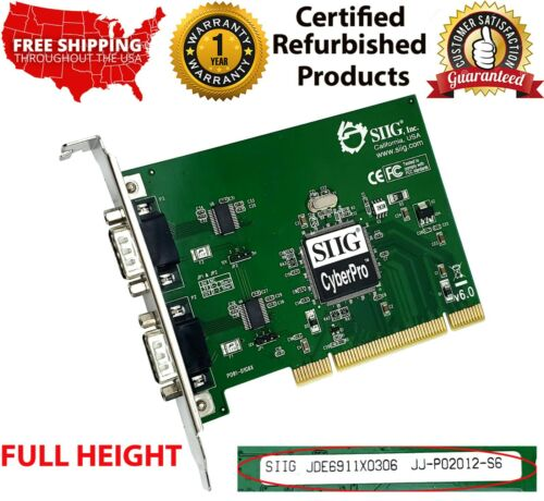JJ-P02012-S6 SIIG CYBERPRO JDE6911X0296 PCI SERIAL DUAL VIDEO DISPLAY CARD V6.0