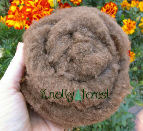 1/2 OUNCE Natural Brown AMERICAN BISON BUFFALO DOWN WOOL ROVING STYLE Spinning