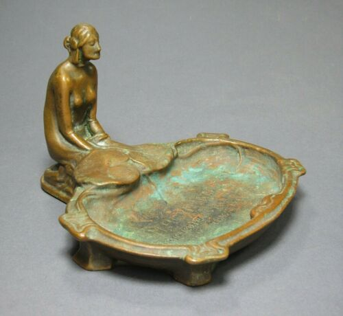 Art Nouveau Nude Woman Pompeian Bronze Co Advertising Trinket Dish Signed c1921