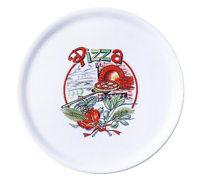Decorated White Porcelain Pizza Plate 12 Made In Italy. 1 Case 6 Dishes.