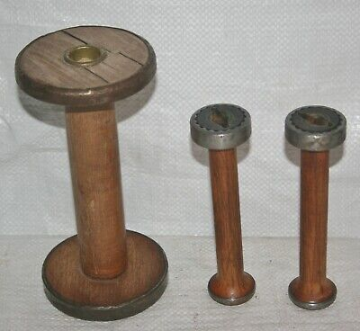 LOT OF 3 VINTAGE WOODEN TEXTILE MILL SPOOLS