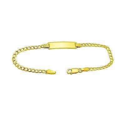 Babies 10k Yellow Gold Cuban link ID Bracelet 5.5 in  Baby Gold Link Bracelets