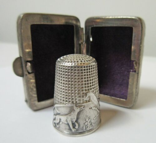 Antique Silver Thimble French Fable Fox & Raven with Case