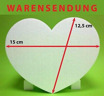 Styropor Herz 1 Stück 15 x 12,5 Höhe 10 cm weiß Hochzeit Krepppapier Love heart