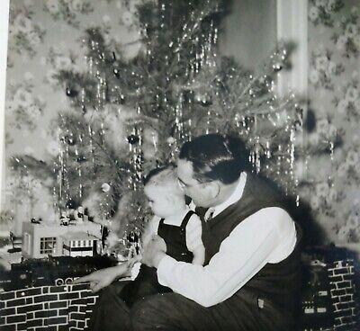 Father Child Christmas American Flyer Train Set Toy Original Photo Snapshot 1953