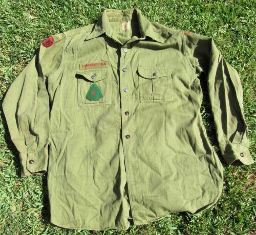 Vintage 40s Boy Scouts Button Up Shirt W/ Patches Metal Buttons Explorer Size L