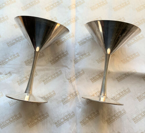 Vintage Pair of Sterling Silver Cartier Martini Glasses # 15, Set of 2