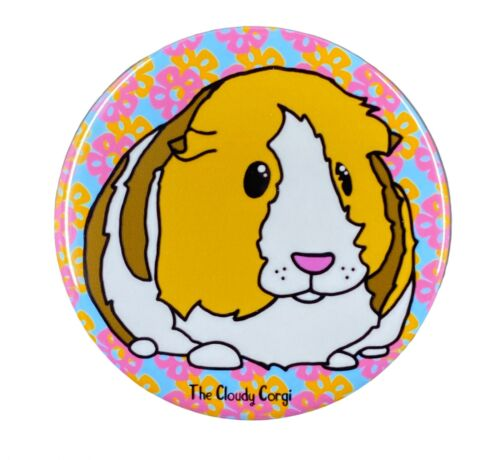 Tropical Guinea Pig Pin Button Badge Floral Cavy Pin Gifts and Accessories