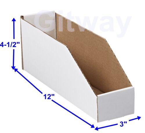 "50- 3"" x 12"" x 4 1/2"" Corrugated Cardboard Open Top Storage Parts Bin Bins Boxes"