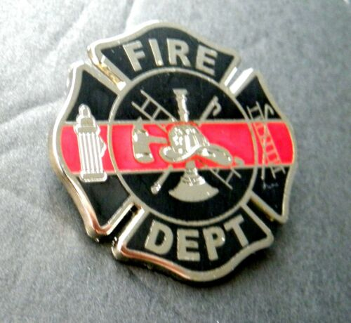 FIREFIGHTER FIRE FIGHTER THIN RED LINE DEPT LARGE LAPEL BADGE PIN 1.5 INCHES
