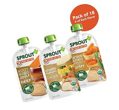 Sprout Organic Stage 3 Baby Food Pouches, Meat Variety, 4 Ounce (Pack of 18) ... (Baby Stage 3 Food)